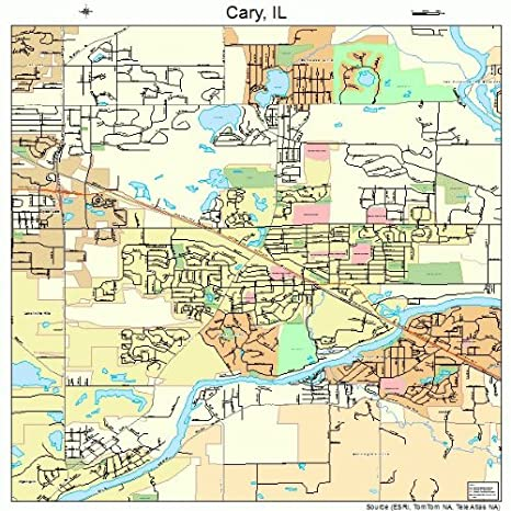 Amazon Com Large Street Road Map Of Cary Illinois Il Printed