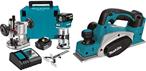 Makita XTR01T7 18V LXT Lithium-Ion Brushless Cordless Compact Router Kit with Makita XPK01Z 18V LXT Lithium-Ion Cordless 3-1/4-Inch Planer, Tool Only