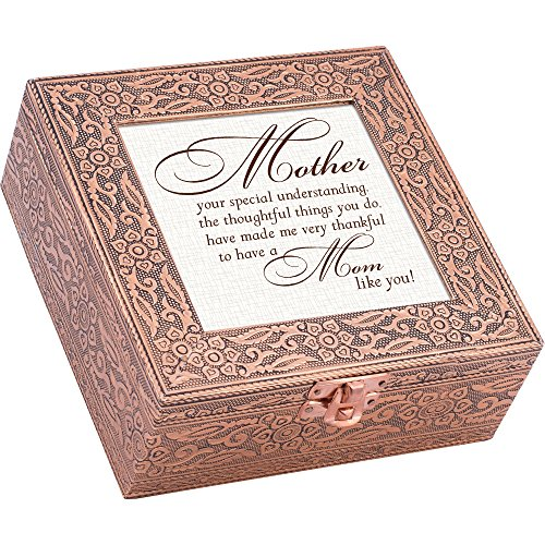 Mother Special Thoughtful Thankful Copper Stamped Metal Jewelry Music Box Plays song Wind Beneath My Wings