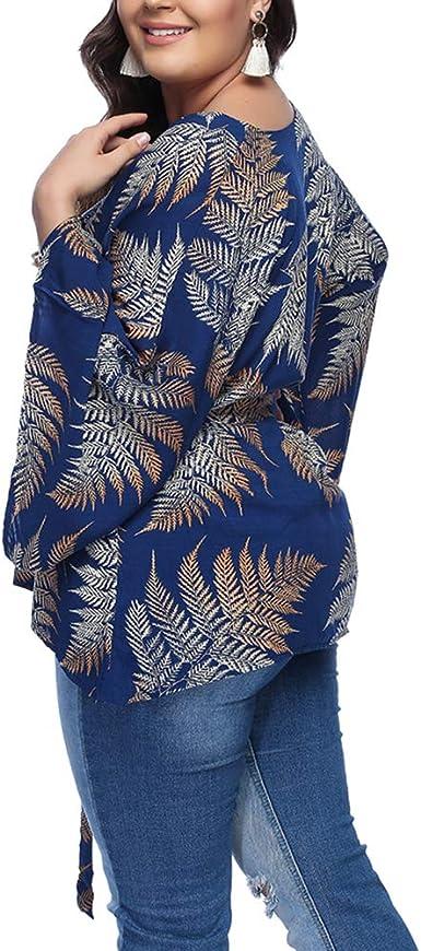 Lover-Beauty Camiseta Mujer Casual Top Blusa para Dama Moda Ropa con Manga Larga Redondo Cuello