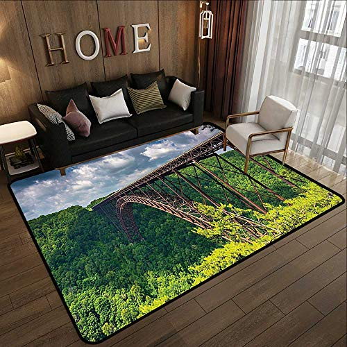 Bedroom Rugs,Apartment Decor Collection,The New River Gorge Bridge Seen from Canyon Rim Visitor Center Overlook Image,Green Blue Whit 63