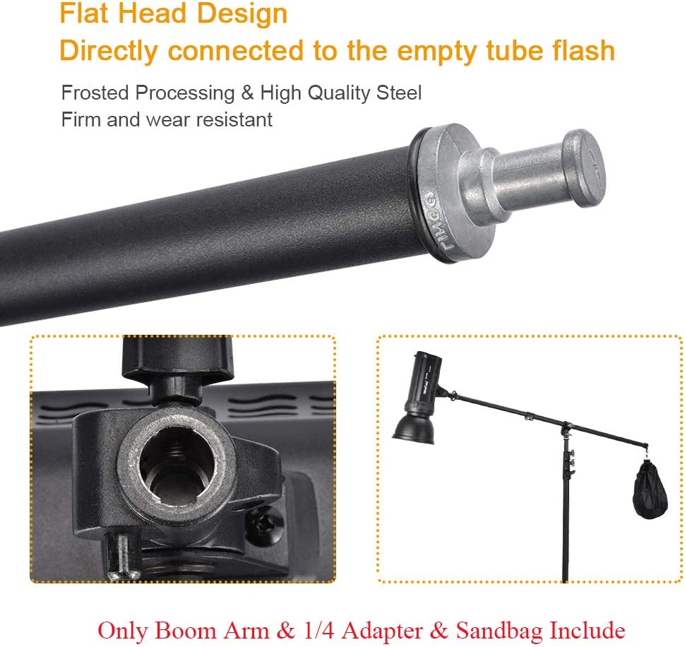 UTEBIT 31.5-55 Adjustable Boom Arm with Sandbag 80-140cm Reflector Holder Arms 4.6ft Frosted Overhead Camera Holding Light Stand with 360 Swivel Head for Photo Video Studio Light Stand Not Include