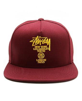 29b54195881 Stussy World Tour Lux Strapback Cap Burgundy  Amazon.co.uk  Clothing