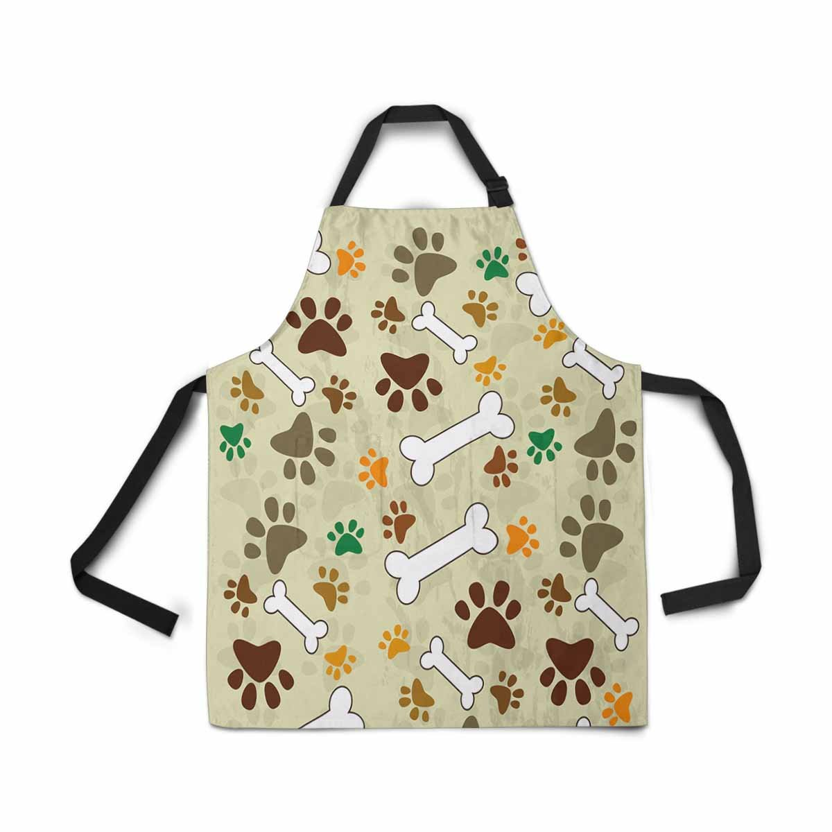 InterestPrint Adjustable Bib Apron for Women Men Girls Chef with Pockets, Dog Paws Bone Pug Print Animal Paws Novelty Kitchen Apron for Cooking Baking Gardening Pet Grooming Cleaning by InterestPrint