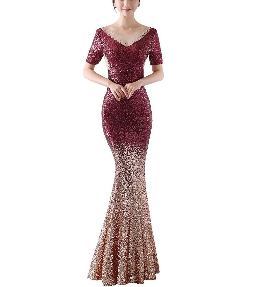 1256wine Chowsir Women Sexy Elegant Slim Sequin Long Cocktail Party Evening Dress