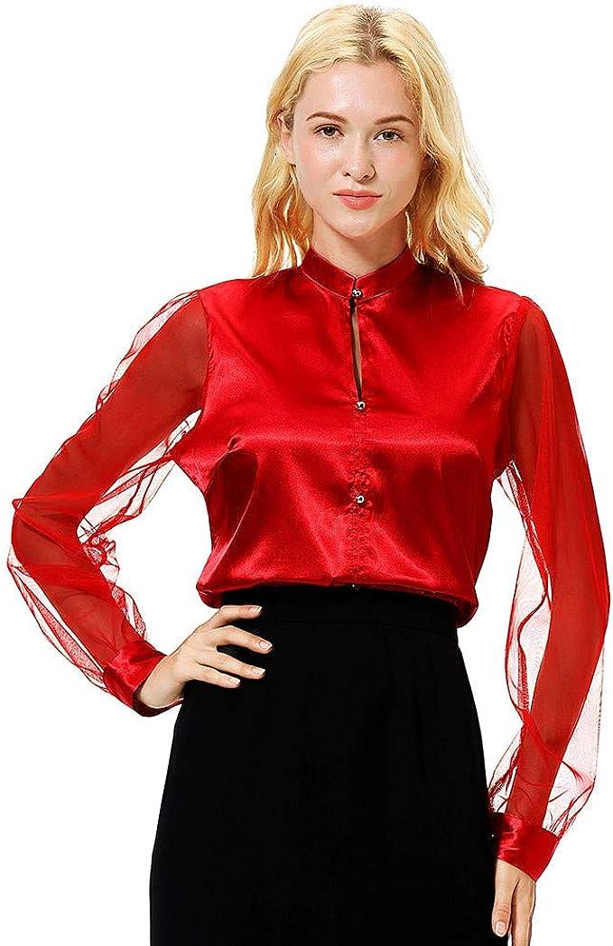 Scenxion Blusa de Encaje de Seda para Mujer, Estilo Chino, Estilo clásico, de Moda, Cuello mandarín, Manga Larga, Casual, con Cuello de Tortuga, con Cremallera, Delgada, Blusa Rojo Rosso XL: Amazon.es: Ropa