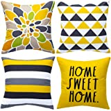 WLNUI Decorative Pillow Covers 18x18 Inch Set of 4 Yellow Geometric Modern Throw Pillow Covers Home Sweet Home Decorative Squ