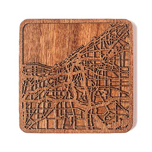 - Cleveland City Map Coaster by O3 Design Studio, One piece, Sapele Wooden Coaster with city map, Multiple city optional, Handmade