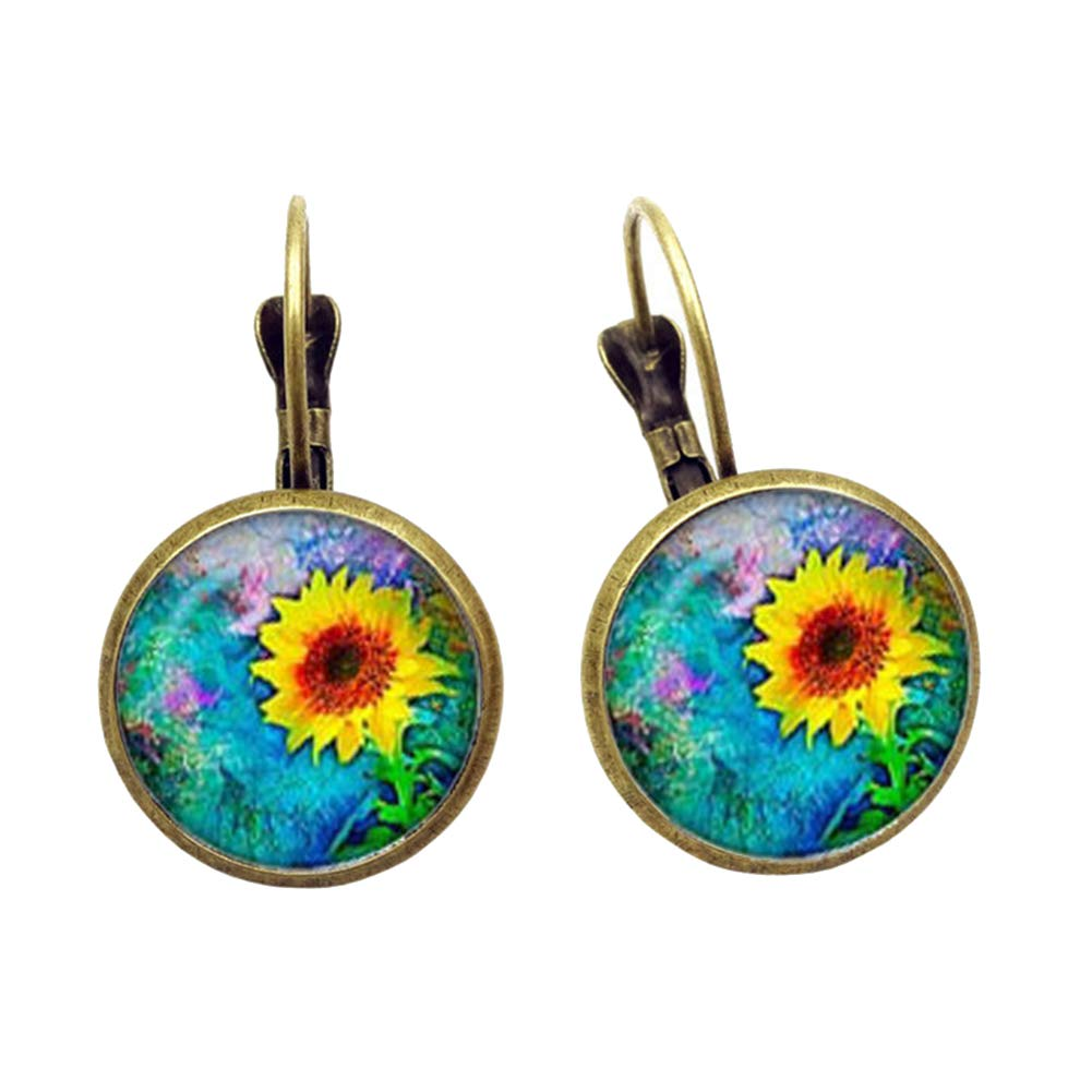 Vintage Sunflower Round Glass Pendant Women Hook Drop Earrings Jewelry Gift - Bronze