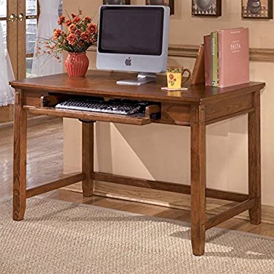 Cross Island Small Home Office Desk - Mission styling Medium Brown Oak finish Pull-out keyboard tray - writing-desks, living-room-furniture, living-room - 61u1eiM7D L. SS400  -