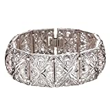 Women Bangle Vintage Indian Style Jewelry 20cm Long 2.2cm Width Platinum Plated Cute Metal Fashion Cuff Bracelet Bangles
