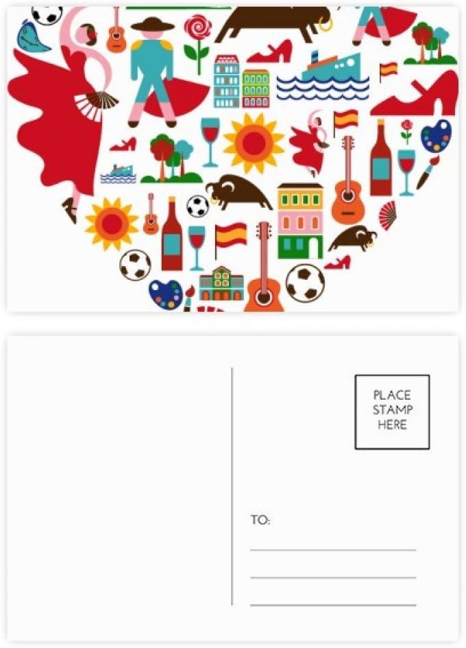 DIYthinker Corrida española del corazón de la bandera del flamenco tarjetas postales conjunto de la tarjeta de cumpleaños de correo Gracias lateral 20Pcs 5,7 pulgadas x 3,8 pulgadas Multicolor: Amazon.es: Oficina y