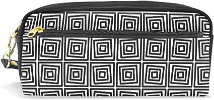 Estuche cuadrado con patrón geométrico abstracto para niños y niños, bolsa grande de cuero con cremallera para colegios y estudiantes, maquillaje cosmético: Amazon.es: Oficina y papelería