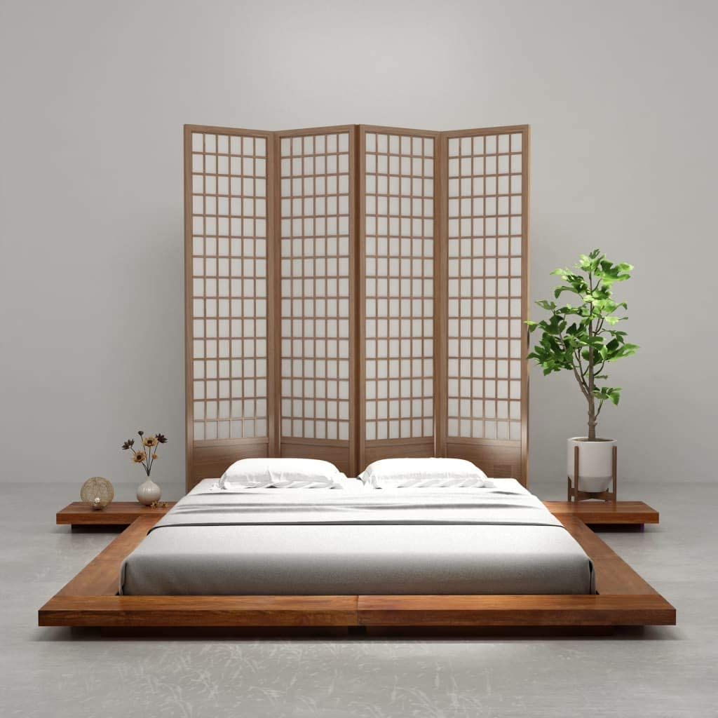 Festnight Japanese Style Futon Bed Frame Solid Wood Sheesham Finish 1 6x2m Amazon Co Uk Kitchen Home