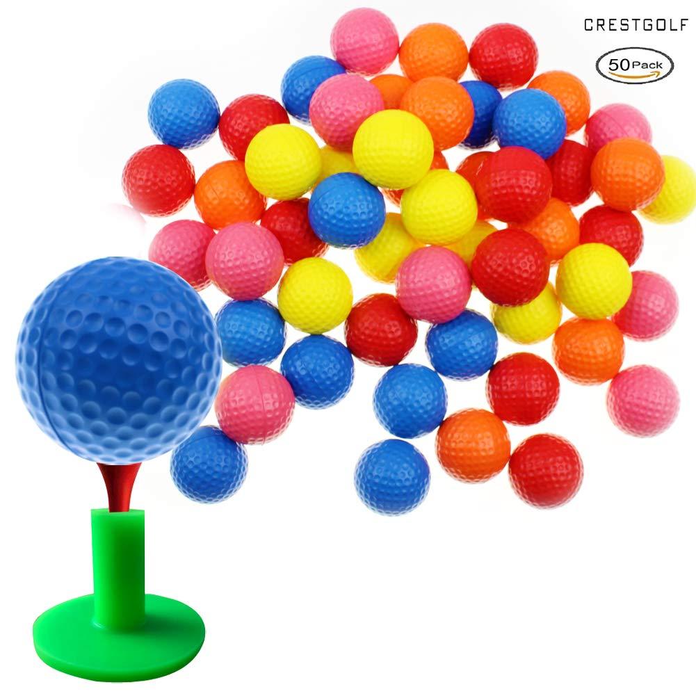 Crestgolf Foam Sponge Practice Golf Ball Soft Balls for Cats 12/50 pcs per Bag (Mixed 50pcs) by Crestgolf