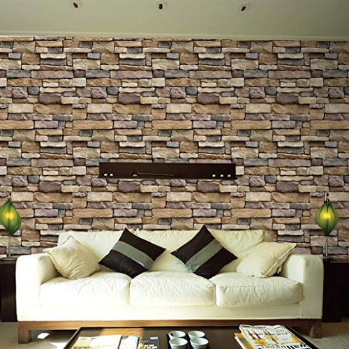 AMA(TM) 3D Wall Paper Brick Stone Rustic Effect Self-adhesive Wall Decals Sticker Home Decor (Multicolor) Rustic Stone