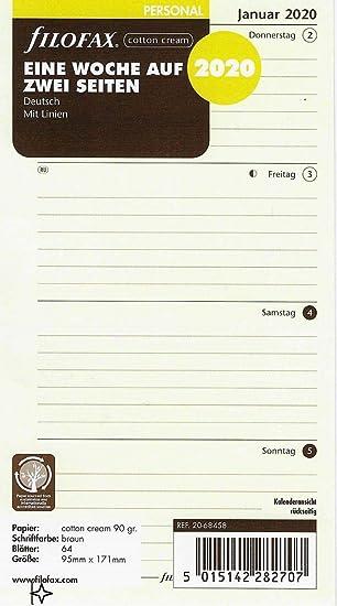Filofax - Recambio para calendario (95 x 171 mm, en algodón ...