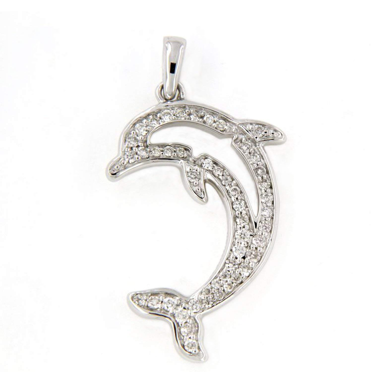 AT Jewels 14K White Gold Over Round Cut White Cubic Zirconia Dolphin Fish Unisex Pendant