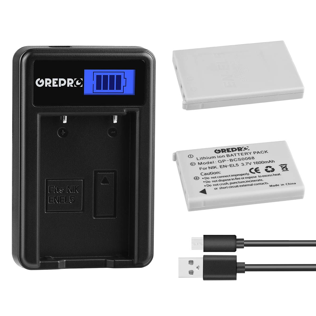 Grepro EN-EL5 Battery (2 Packs) and LCD USB Charger for EN-EL5 and Nikon Coolpix 3700, 4200, 5200, 5900, 7900, P3, P4, P80, P90, P100, P500, P510, P520, P530, P5000, P5100, P6000, S10 by GREPRO