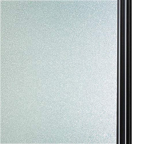 Qualsen Privacy Window Film Frosted Glass Film Matte White Non-Adhesive Static Window Cling Anti-UV Window Sticker for Bathroom Home Office Kitchen Living Room Front Door (35.4 x 118 Inch) - Front Glass Door Window