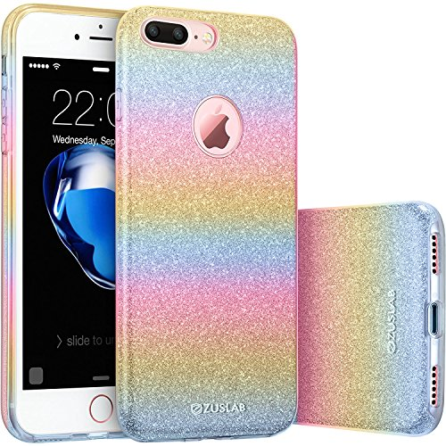 iPhone 7 Plus Case, ZUSLAB [Rosy Sparkle] Bling Luxury Glitter Cover, Dual layer Fashion Protective Soft Rubber Flexible Ultra light Slim Case for Apple iPhone 7 Plus (Rainbow)