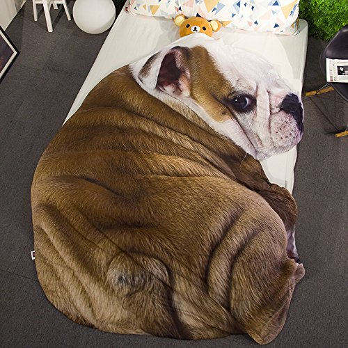 3D Animal Prints Blanket Bedding Dog Shaped Summer Quilt Bulldog Comforter Washable Light Quilt by Getime (Image #2)