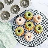 New 6 Mini Non Stick Cast Aluminum Cake Bundt Bake Pan with Kitchen Tools Combo