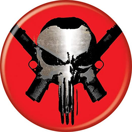 Amazon punisher skull skull guns on red marvel comics punisher skull skull guns on red marvel comics pinback button 125quot publicscrutiny Gallery