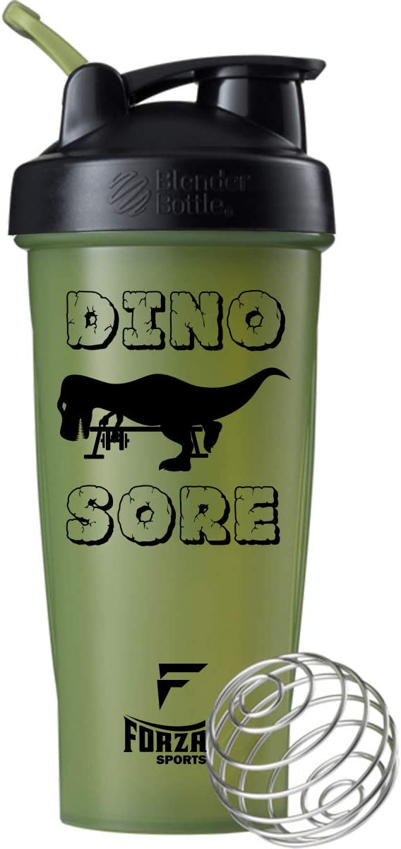 Forza Sports Blender Bottle x 28 oz. Classic Shaker (Dino Sore - Green)