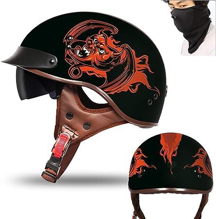 MTTKTTBD Casco Moto Abierto ECE Homologado Retro Harley Half Moto Cascos Helmet con Doble Visera Casco Moto Jet para Mofa Crash Cruiser Scooter Biker Racing