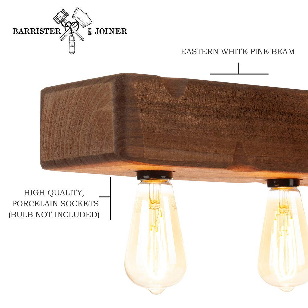 Farmhouse Lighting Distressed Wood Beam Rustic Chandelier Light Fixture - Recessed Wooden Beam Ceiling Light Fixture (5 Light) - Great for Kitchen Island Lighting, Bar, Industrial, Billiard, and Foyer