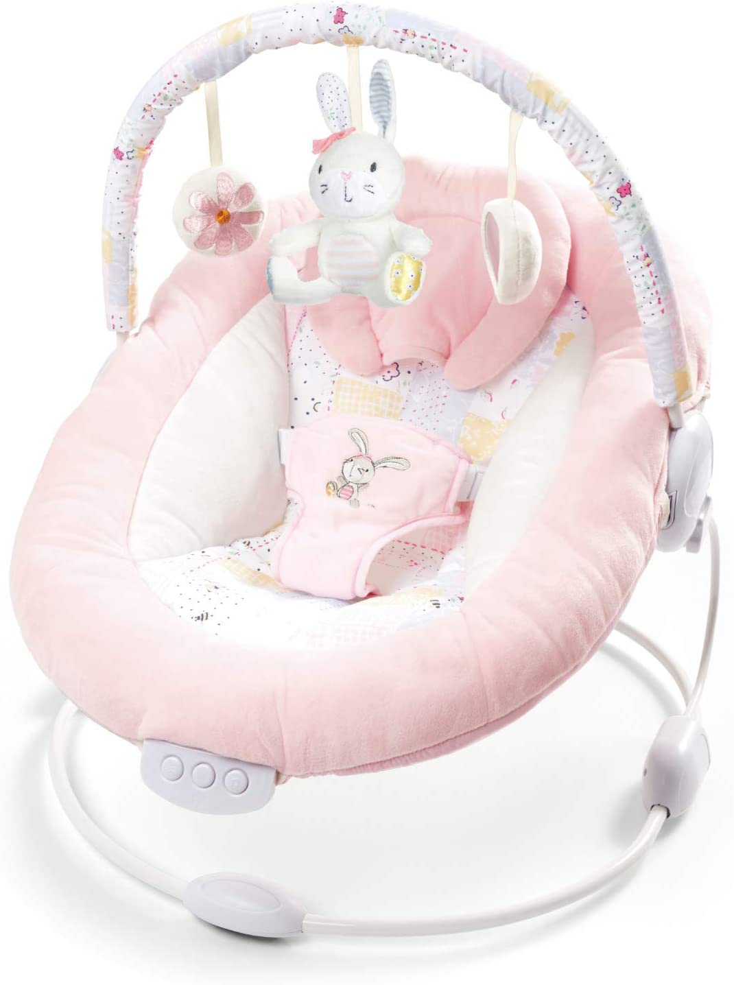 Soft Padded Baby Spring Pink Flower Bouncer Recliner with Soothing Music Vibration and Toys 0m+ (076)