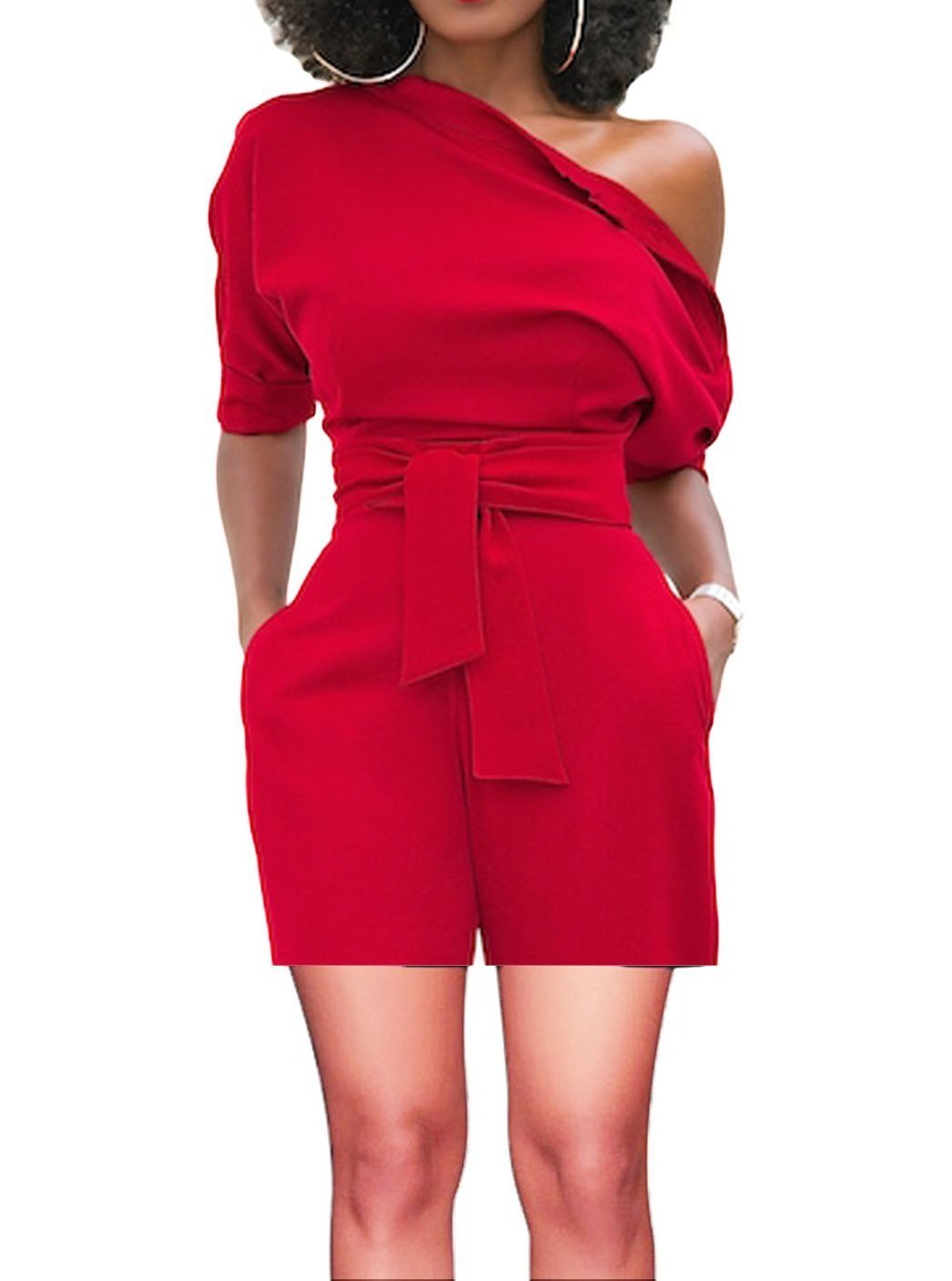ThusFar Women's Elegant Off Shoulder Hlaf Sleeve Shorts Jumpsuits High Waist Romper with Belt Red XL