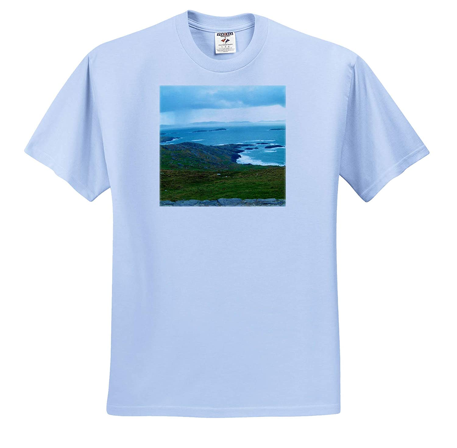 3dRose Jos Fauxtographee Ireland Sea T-Shirts The sea in Ireland and The Green Lush Colors on Shore