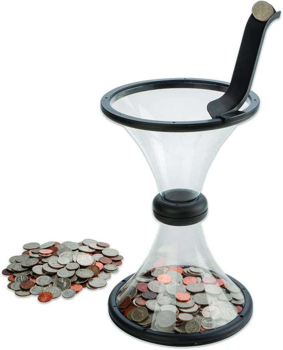 Vortex Coin Bank Plastic for Fun Easy Saving Money - Money Spin Bank for Adults and Kids - 10.75 x 7.12 Inches