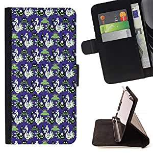 BullDog Case - FOR/LG Nexus 5 D820 D821 / - / wallpaper birds blue russian patter purple /- Monedero de cuero de la PU Llevar cubierta de la caja con el ID Credit Card Slots Flip funda de cuer