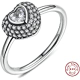 Anillos Fashion 925 Sterling Silver In My Heart Pave Ring with Clear Dazzling Cubic Zirconia for