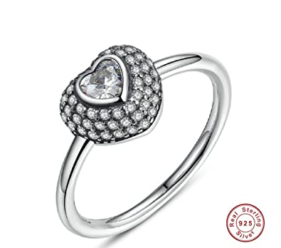 Fashion 925 Sterling Silver In My Heart Pave Ring with Clear Dazzling Cubic Zirconia for Women