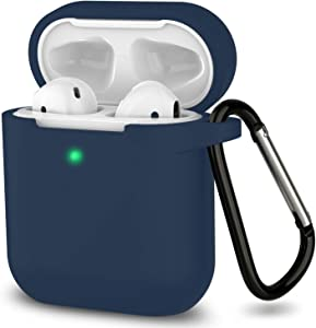 AirPods Case, Full Protective Silicone AirPods Accessories Cover Compatible with Apple AirPods 1&2 Wireless and Wired Charging Case(Front LED Visible), Navy Blue