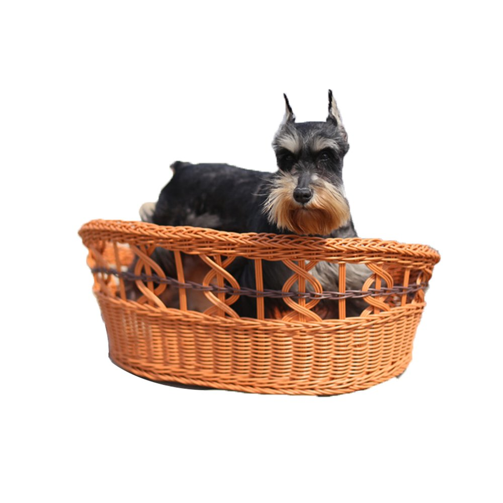 Coffee color Small Coffee color Small YQQ Hand-woven Rattan Kennel Small And Medium Kennel Cat Nest Summer Cool Rattan Nest Pet Nest Dog Bed Pet Supplies (color   Coffee color, Size   S)
