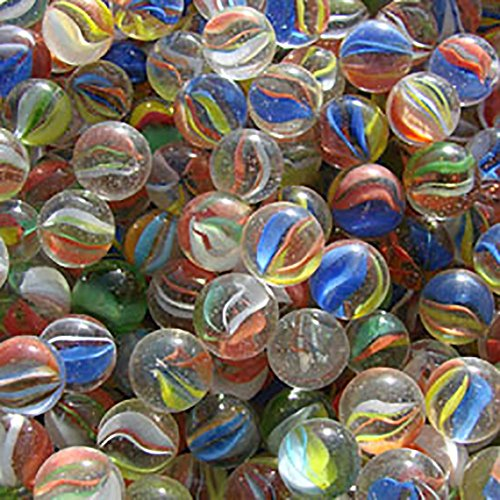 "Unique & Custom {5/8"" Inch} 1 Pound Of ""Round"" Clear Marbles Made of Glass for Filling Vases, Games & Decor w/ Classic Swirled Cat Eye Simple Fun Family Creative Design [Assorted Colors]"