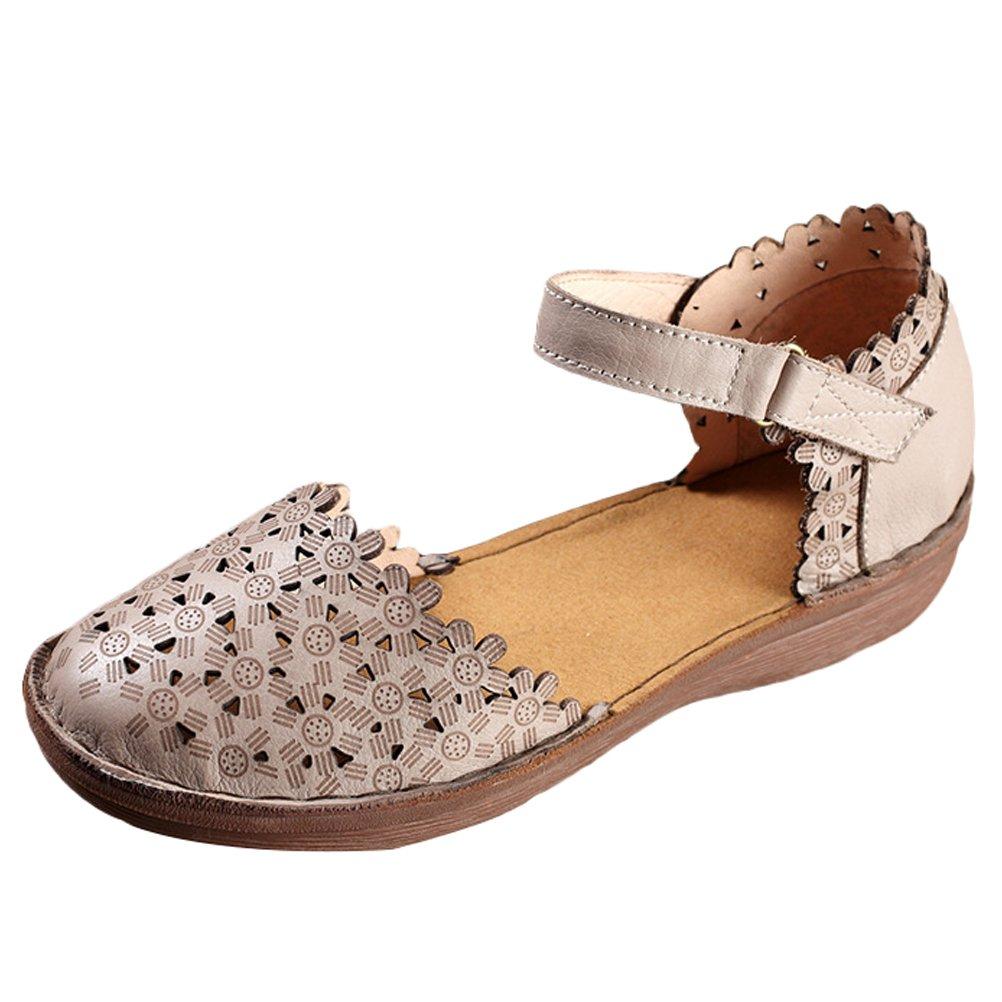 Mordenmiss Women's Summer Handmade Genuine Leather Sandal (US 7.5//CH 39, Style 3 Gray)