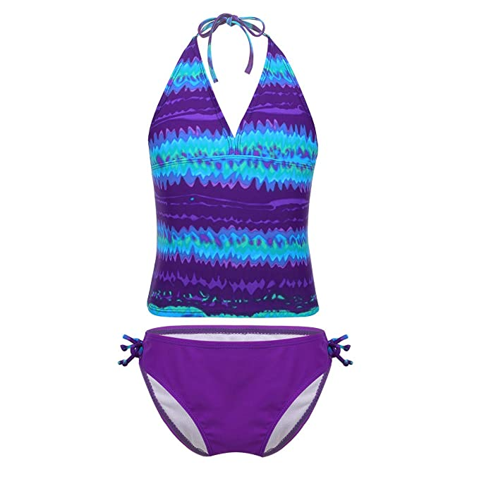 Agoky 2PCS Girls Mambo Tie-dye Tankini Swimming Costume Halter Top with Shorts Outfit Set Swimsuit