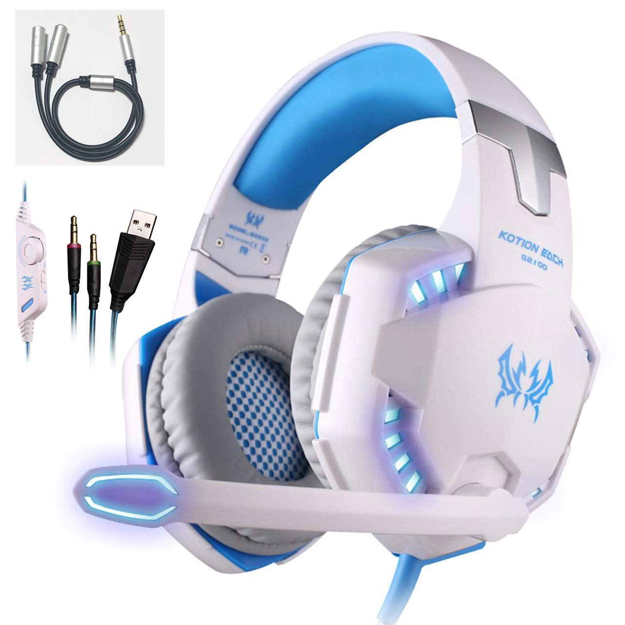 EACH G2100 Vibration Function Professional Gaming Headphone Games Headset with Mic Stereo Bass LED Light for PC Gamer by EACH