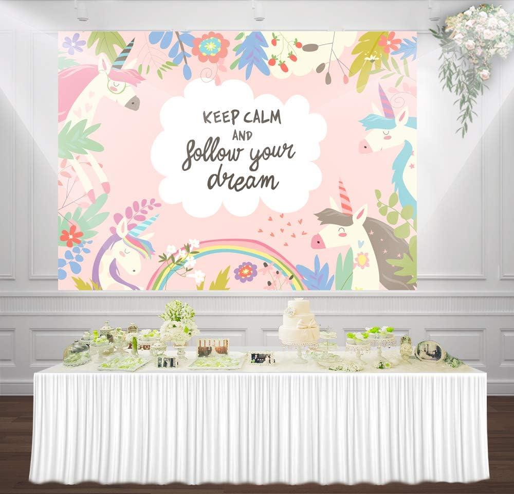 HUAYI 7x5ft Rainbow Unicorn Birthday Party Flowers Personalised Baby Portrait Photography Backdrop Background Photo Studio mz-1038