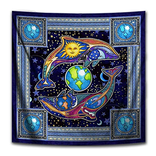 Dolphin Celestial Square Tapestry by Dan Morris, 40 x40