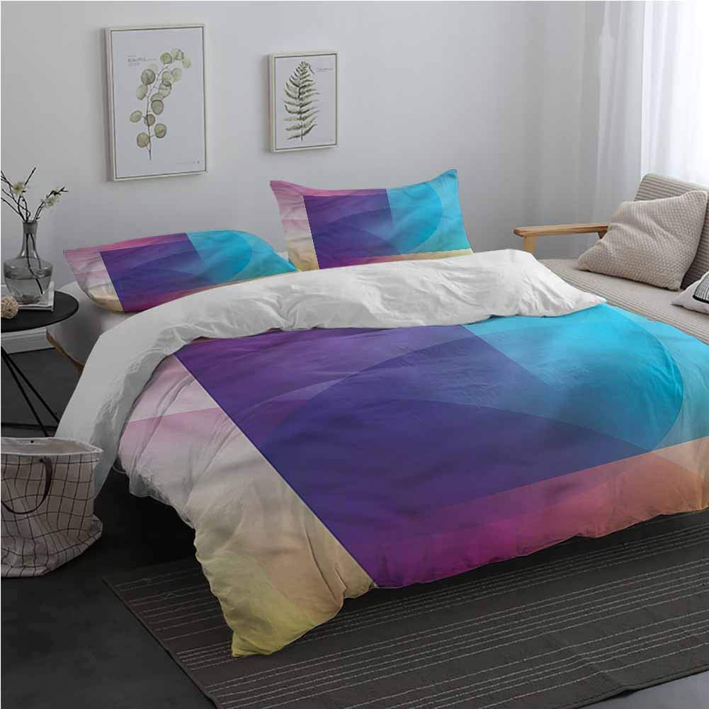 AndyTours Abstract Microfiber Duvet Cover Colorful Mosaic Shapes Bedding Set for Men, Women, Boys and Girls Twin