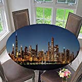 kitchen 67 a michigan bistro PINAFORE HOME Round Tablecloth Chicago Downtown City Skyline at Night and Michigan Lake Shore Drive for Kitchen 63