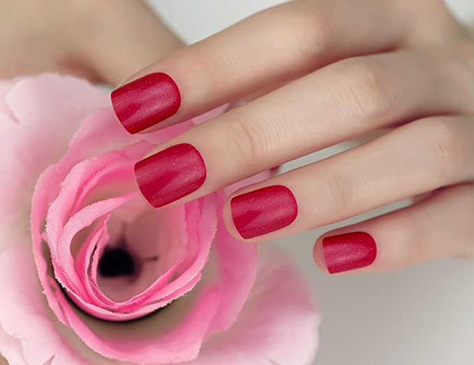 ArtPlus 24pcs Cherry Red Glittering False Nails Full Cover Short and Small with Adhesive Tabs Pressed On and Glue Fake Nails: Amazon.es: Belleza