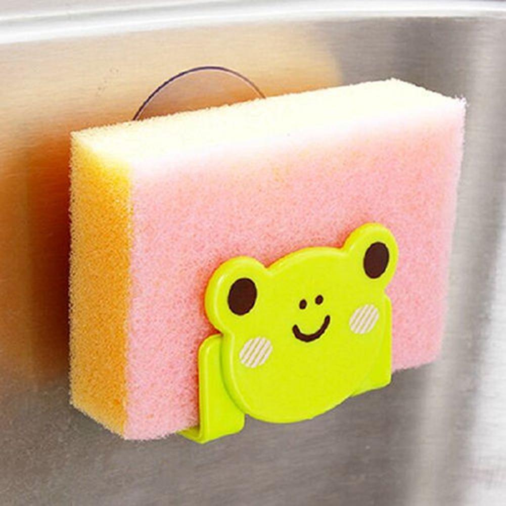 Niome Cartoon Soap Sponge Suction Drying Holder Kitchen Bathroom Rack Black Cat